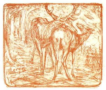 Franz Marc - Pair of deer