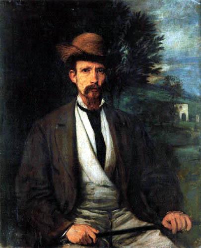 Hans von Marées - Selfportrait with a yellow hat