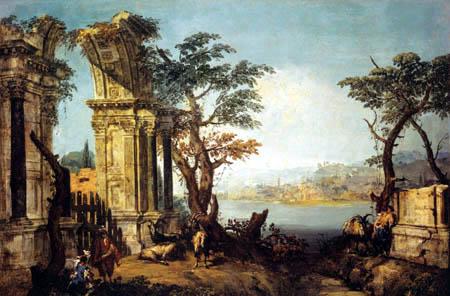 Michele Marieschi - Capriccio with antique arch