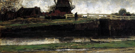 Jacobus H. Maris - Village with mill