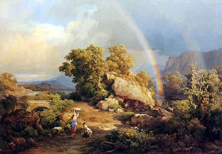 Károly Markó II - Paysage italien avec des coudes de pluie