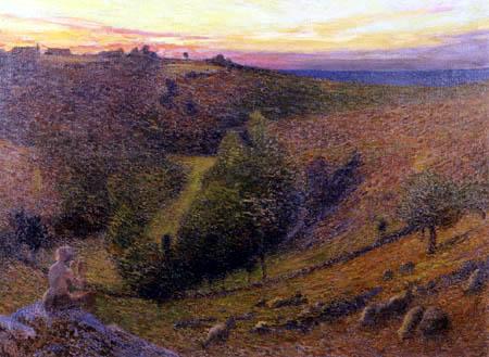 Henri Martin - Ein Schäfer mit seiner Pfeife bei Sonnenuntergang