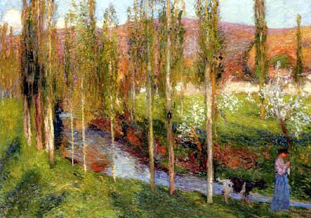 Henri Martin - Goatherd walking in the green valley
