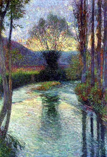 Henri Martin - Weiden spiegeln sich im Grün