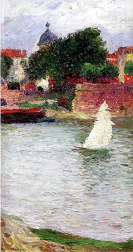 Henri Martin - Segelboot auf der Garonne vor der Kirche Saint-Pierre in Toulouse