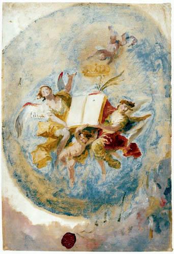 Franz Anton Maulbertsch (Maulpertsch) - Engel mit Buch und Krone