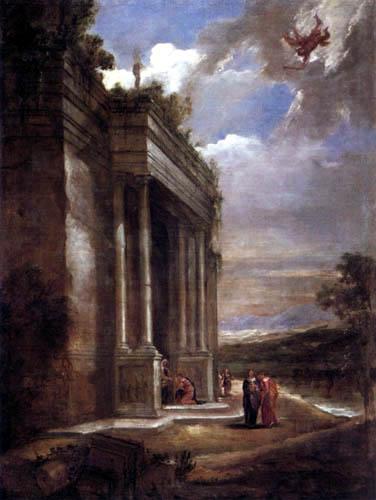 Juan Bautista Martínez del Mazo - Landscape with temple