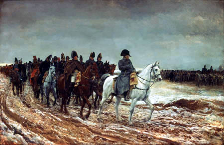 Jean L. E. Meissonier - Napoleon and his staff are retuning from Soissons after the battle of Laon