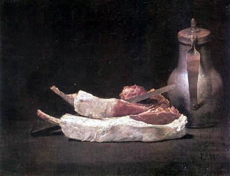 Luis E. Meléndez - Two lamb cutlets and a copper jug