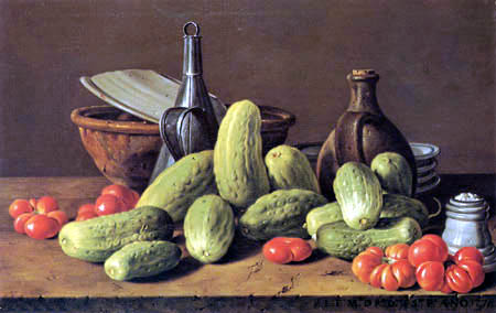 Luis E. Meléndez - Still life with Cucumbers and Tomatoes