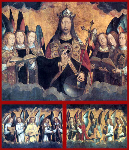 Hans Memling - Christ and the musician angels