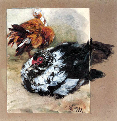 Adolph von (Adolf) Menzel - Two Turkish ducks