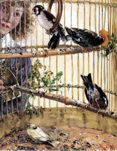 Adolph von (Adolf) Menzel - Finchs and canary in the birdcage