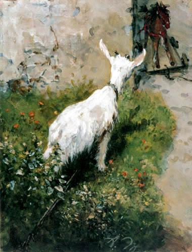 Adolph von (Adolf) Menzel - La chèvre et le cheval en bois