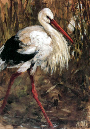 Adolph von (Adolf) Menzel - The stork in the reed
