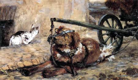 Adolph von (Adolf) Menzel - Der Ziehhund und die Katze