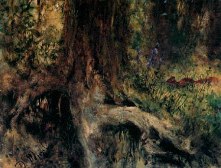 Adolph von (Adolf) Menzel - Un écureuil dans la forêt