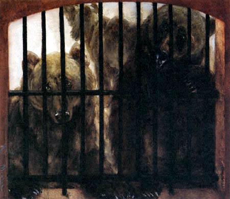 Adolph von (Adolf) Menzel - Drei Bären im Käfig