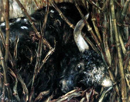 Adolph von (Adolf) Menzel - Der Stier im Bambus