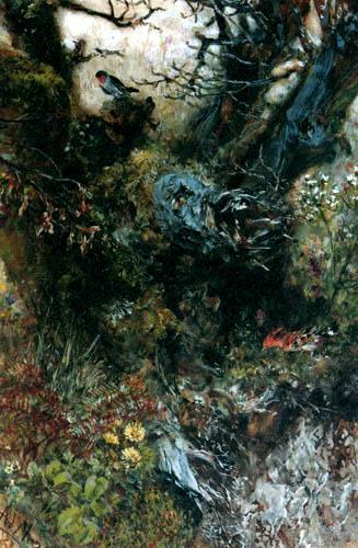 Adolph von (Adolf) Menzel - Baumstumpf mit Rotkehlchen