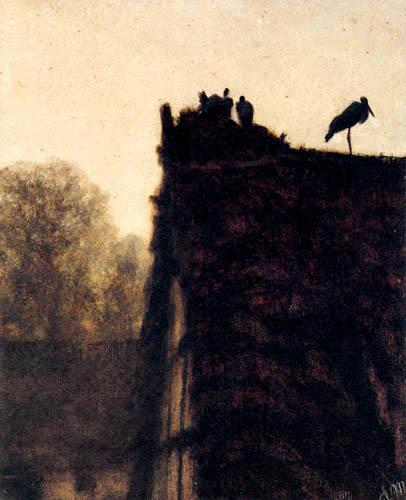 Adolph von (Adolf) Menzel - Das Storchennest auf dem Dach