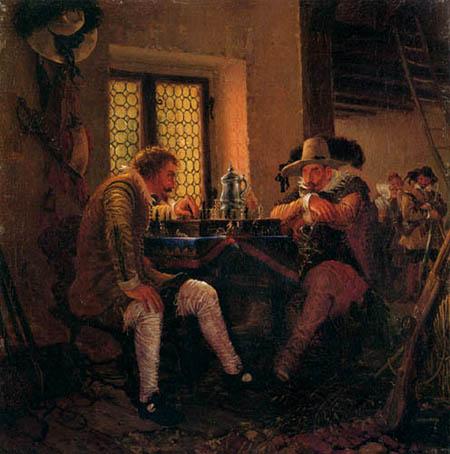 Adolph von (Adolf) Menzel - Die Schachpartie