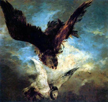 Adolph von (Adolf) Menzel - Un faucon se précipitant sur une colombe