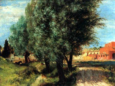 Adolph von (Adolf) Menzel - Weidenbäume südlich einer Baustelle