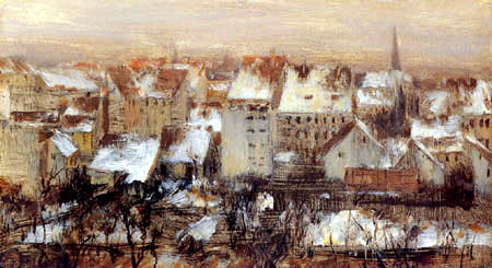 Adolph von (Adolf) Menzel - Häuser und Hinterhöfe im Schnee