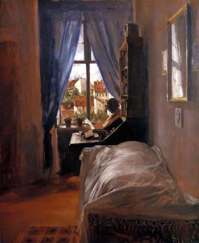 Adolph von (Adolf) Menzel - Dans la chambre à coucher de l'artiste