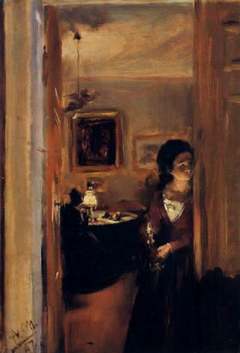 Adolph von (Adolf) Menzel - Die Schwester des Künstlers