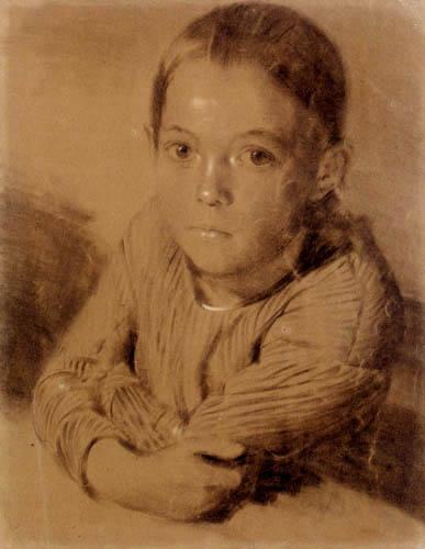 Adolph von (Adolf) Menzel - Porträt eines jungen Mädchens