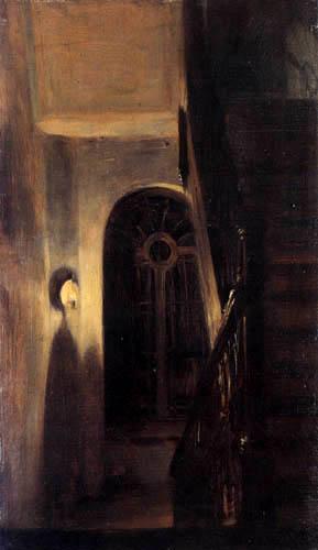 Adolph von (Adolf) Menzel - Treppenhaus mit Nachtbeleuchtung