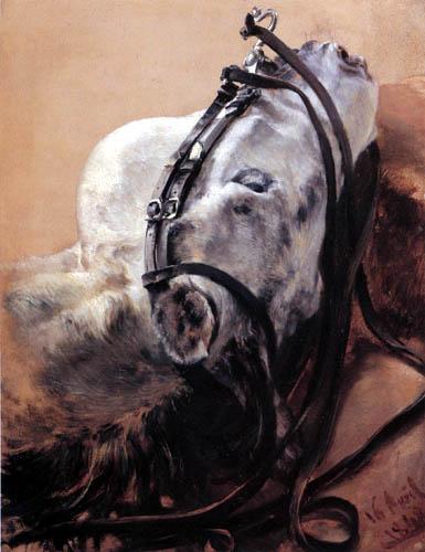 Adolph von (Adolf) Menzel - Pferdekopf liegend im Geschirr