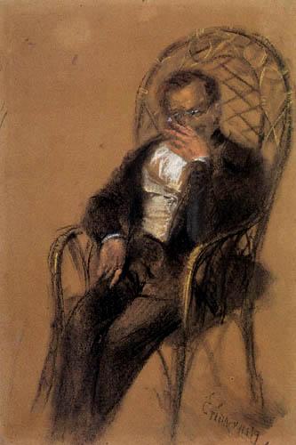Adolph von (Adolf) Menzel - Mann mit Zigarre