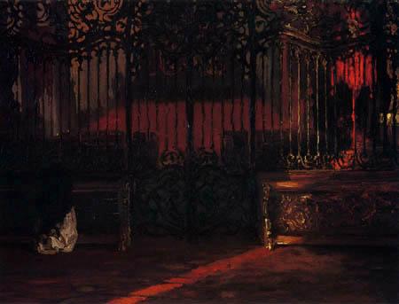 Adolph von (Adolf) Menzel - Femme priant dans l'église