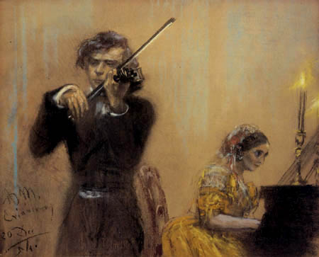 Adolph von (Adolf) Menzel - Clara Schumann et Joseph Joachim dans le concert