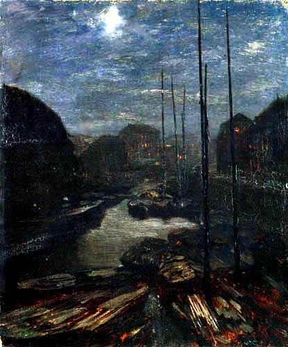 Adolph von (Adolf) Menzel - Klare Mondnacht über der Friedrichsgracht, Berlin