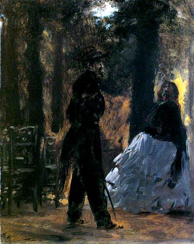 Adolph von (Adolf) Menzel - Friedenswächter und Dame im Tuileriengarten