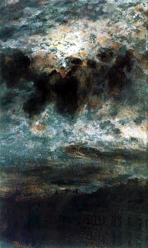 Adolph von (Adolf) Menzel - Mond hinter Wolken