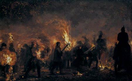 Adolph von (Adolf) Menzel - Brennende Fackeln