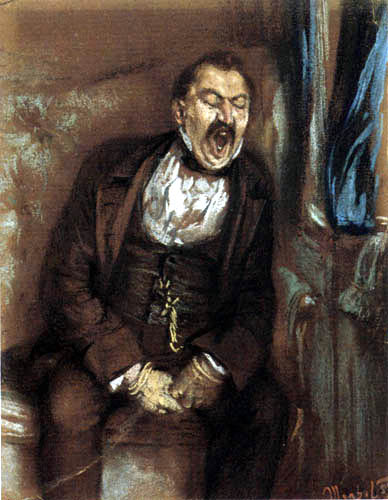 Adolph von (Adolf) Menzel - Un homme dans un compartiment de train