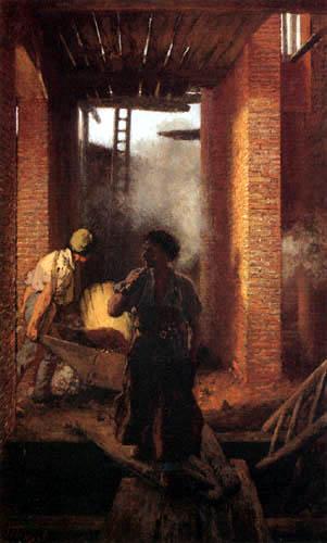 Adolph von (Adolf) Menzel - Zwei Arbeiter im großen Werk