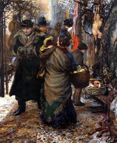 Adolph von (Adolf) Menzel - Escena de mercado, invierno