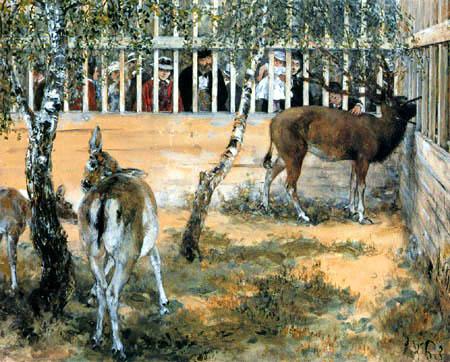 Adolph von (Adolf) Menzel - Fallow deer