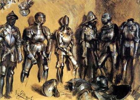 Adolph von (Adolf) Menzel - Armures, étude