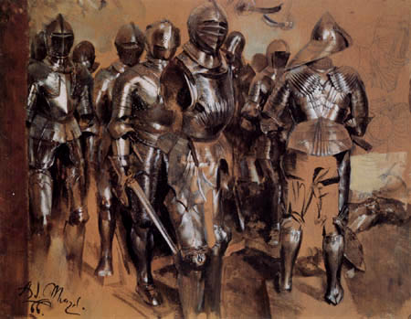 Adolph von (Adolf) Menzel - A group of standing arms