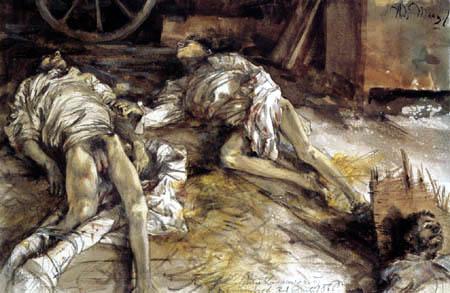 Adolph von (Adolf) Menzel - Drei tote Soldaten auf dem Boden