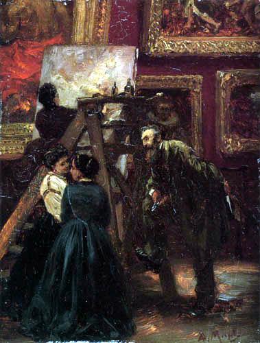Adolph von (Adolf) Menzel - Im Louvre