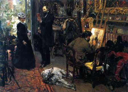 Adolph von (Adolf) Menzel - Meissonier in his studio at Poissy